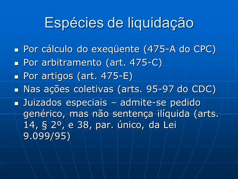 Espécies de liquidação Por cálculo do exeqüente (475-A do CPC) Por cálculo do exeqüente (475-A do CPC) Por arbitramento (art. 475-C) Por arbitramento