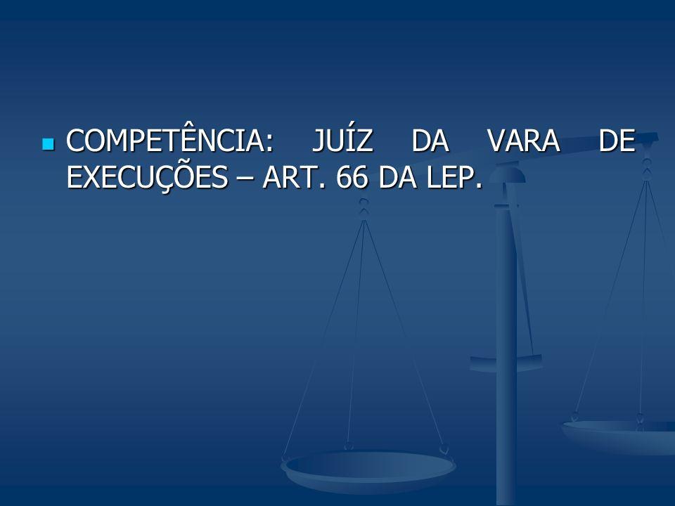 COMPETÊNCIA: JUÍZ DA VARA DE EXECUÇÕES – ART. 66 DA LEP. COMPETÊNCIA: JUÍZ DA VARA DE EXECUÇÕES – ART. 66 DA LEP.