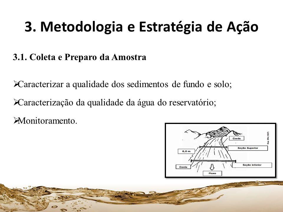 3. Metodologia e Estratégia de Ação 3.1. Coleta e Preparo da Amostra Caracterizar a qualidade dos sedimentos de fundo e solo; Caracterização da qualid