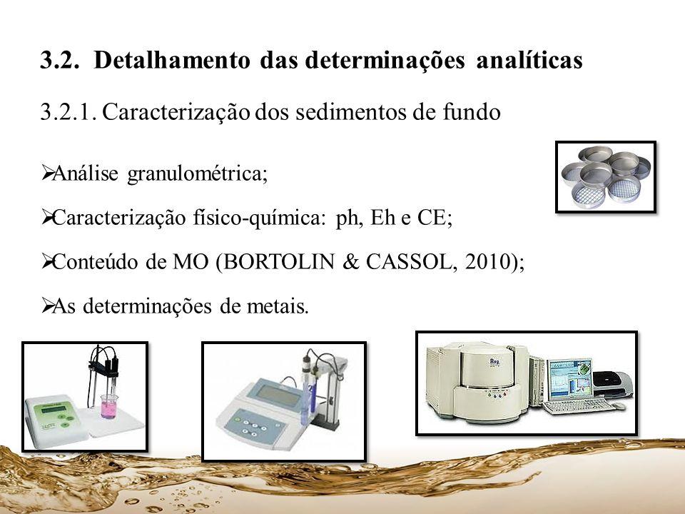 3.2. Detalhamento das determinações analíticas 3.2.1. Caracterização dos sedimentos de fundo Análise granulométrica; Caracterização físico-química: ph