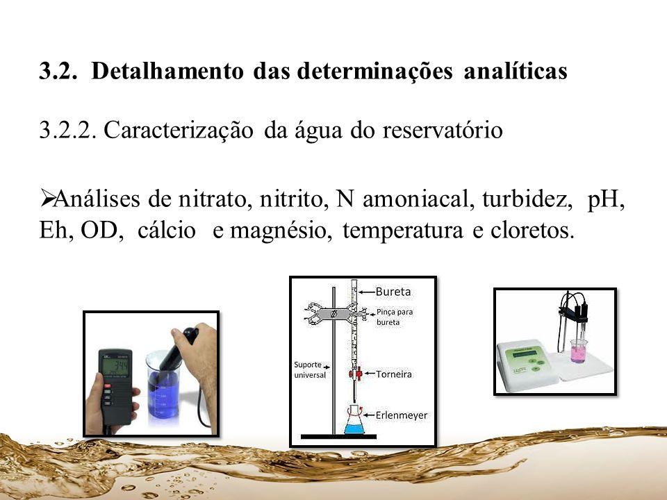 3.2. Detalhamento das determinações analíticas 3.2.2. Caracterização da água do reservatório Análises de nitrato, nitrito, N amoniacal, turbidez, pH,