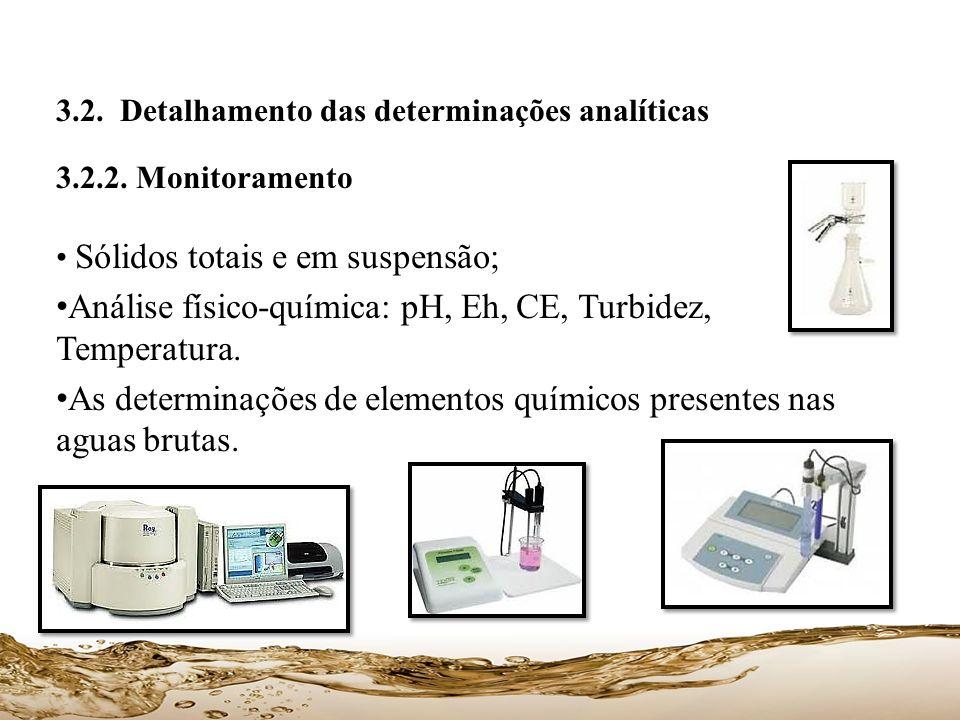 3.2. Detalhamento das determinações analíticas 3.2.2. Monitoramento Sólidos totais e em suspensão; Análise físico-química: pH, Eh, CE, Turbidez, Tempe