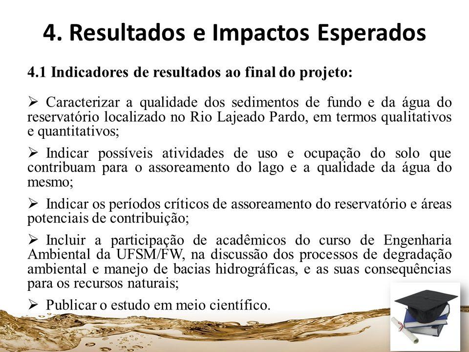 4. Resultados e Impactos Esperados 4.1 Indicadores de resultados ao final do projeto: Caracterizar a qualidade dos sedimentos de fundo e da água do re