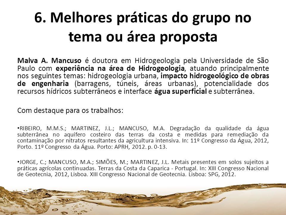 6. Melhores práticas do grupo no tema ou área proposta Malva A. Mancuso é doutora em Hidrogeologia pela Universidade de São Paulo com experiência na á