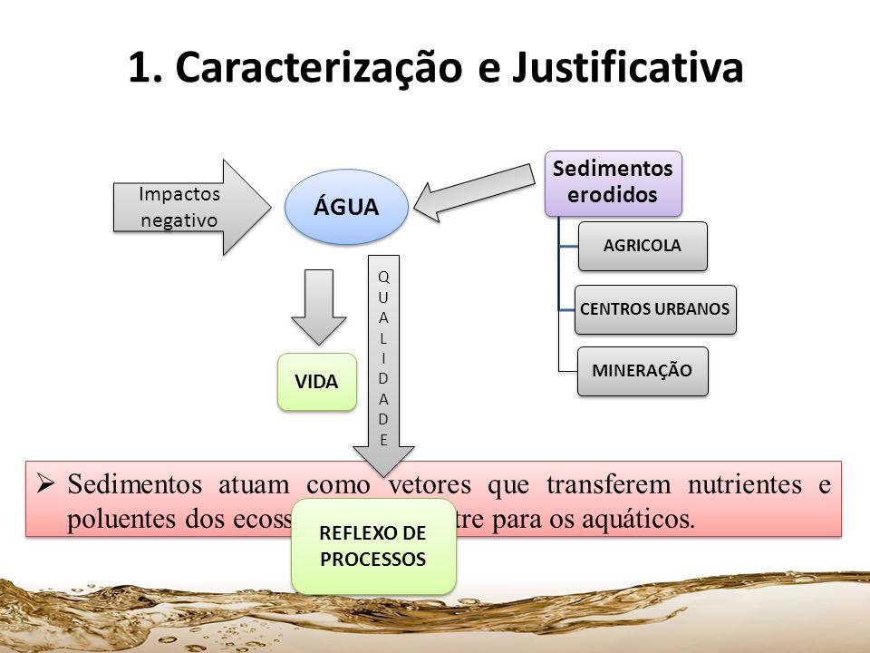 1. Caracterização e Justificativa Sedimentos erodidos AGRICOLACENTROS URBANOS MINERAÇÃO Impactos negativo ÁGUA Sedimentos atuam como vetores que trans