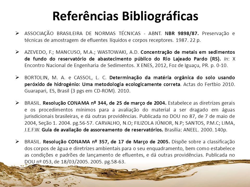 Referências Bibliográficas ASSOCIAÇÃO BRASILEIRA DE NORMAS TÉCNICAS - ABNT. NBR 9898/87. Preservação e técnicas de amostragem de efluentes líquidos e
