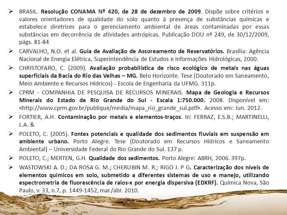 BRASIL. Resolução CONAMA Nº 420, de 28 de dezembro de 2009. Dispõe sobre critérios e valores orientadores de qualidade do solo quanto à presença de su