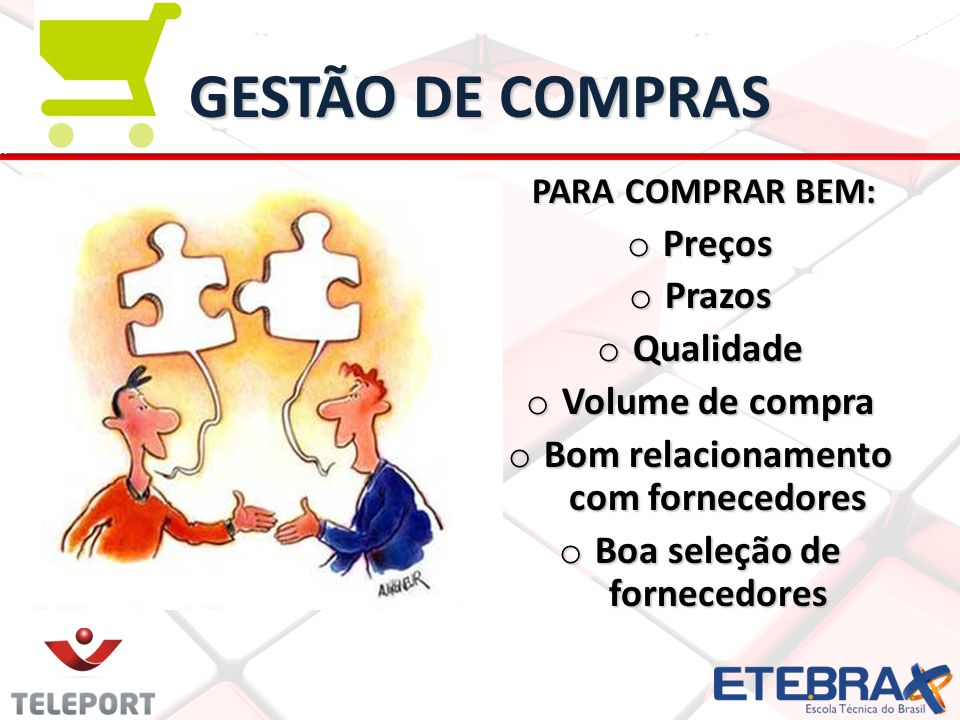 GESTÃO DE COMPRAS PARA COMPRAR BEM: PARA COMPRAR BEM: o Preços o Prazos o Qualidade o Volume de compra o Bom relacionamento com fornecedores o Boa sel