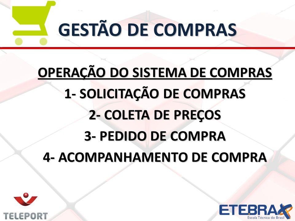 GESTÃO DE COMPRAS OPERAÇÃO DO SISTEMA DE COMPRAS 1- SOLICITAÇÃO DE COMPRAS 2- COLETA DE PREÇOS 3- PEDIDO DE COMPRA 4- ACOMPANHAMENTO DE COMPRA