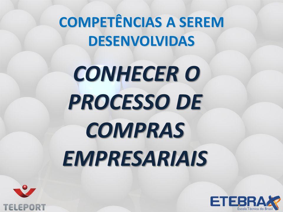 CONHECER O PROCESSO DE COMPRAS EMPRESARIAIS CONHECER O PROCESSO DE COMPRAS EMPRESARIAIS COMPETÊNCIAS A SEREM DESENVOLVIDAS