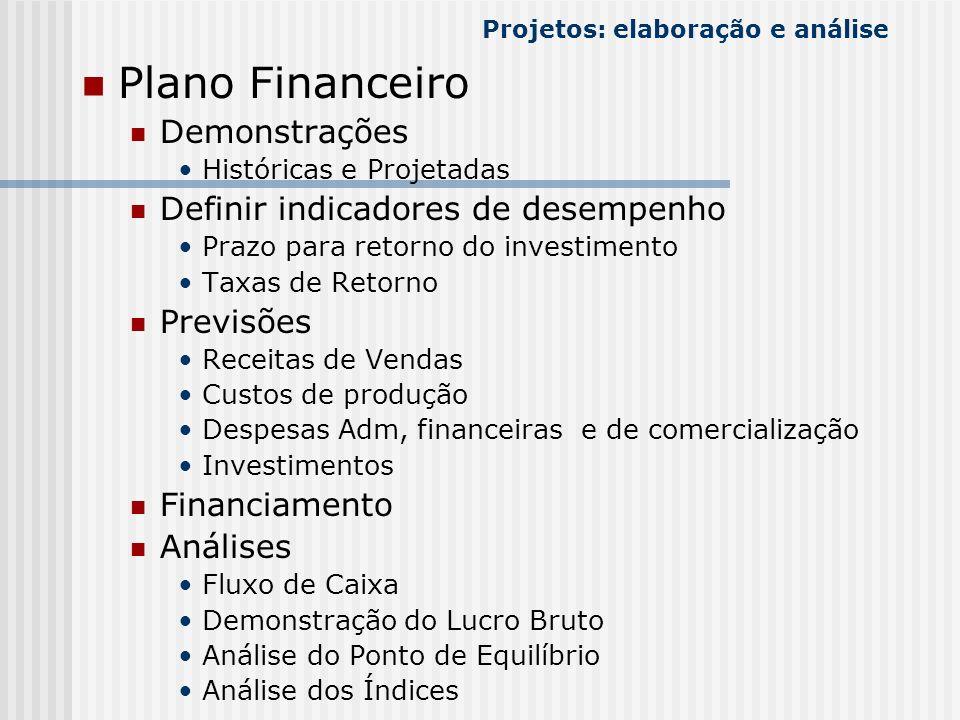 Plano Financeiro Demonstrações Históricas e Projetadas Definir indicadores de desempenho Prazo para retorno do investimento Taxas de Retorno Previsões