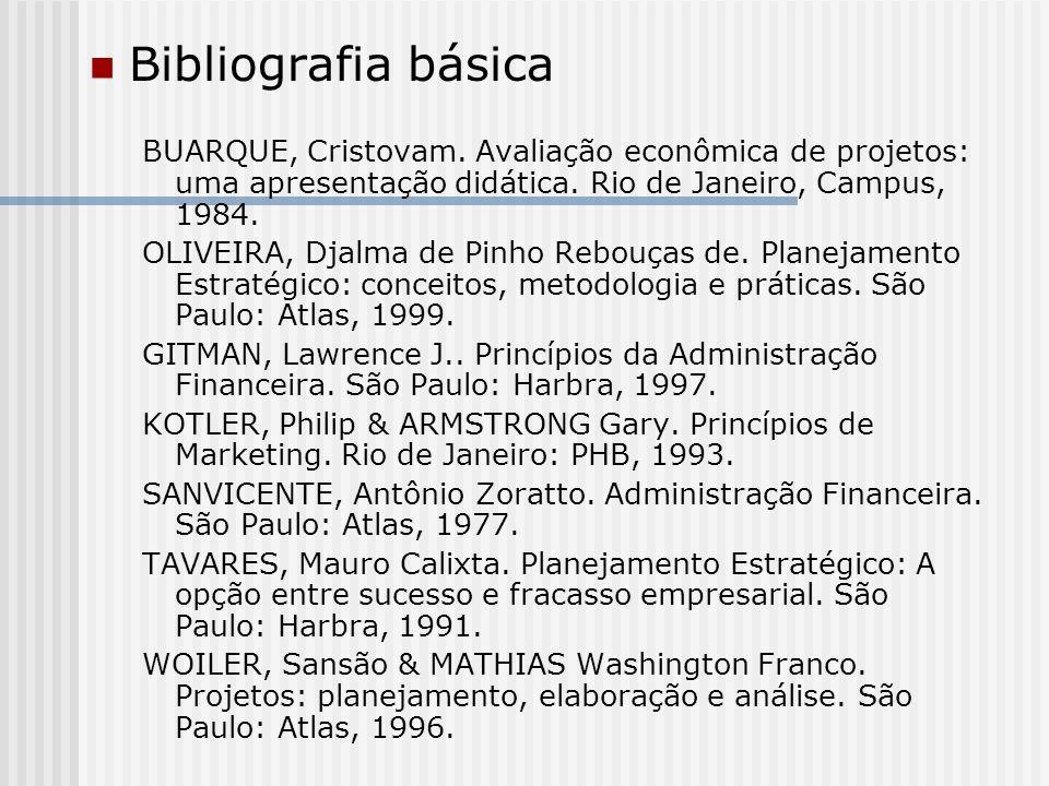 Bibliografia básica BUARQUE, Cristovam. Avaliação econômica de projetos: uma apresentação didática. Rio de Janeiro, Campus, 1984. OLIVEIRA, Djalma de
