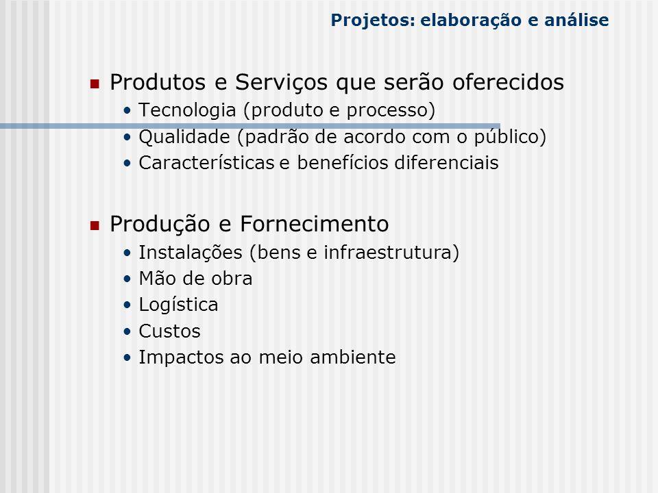 Produtos e Serviços que serão oferecidos Tecnologia (produto e processo) Qualidade (padrão de acordo com o público) Características e benefícios difer