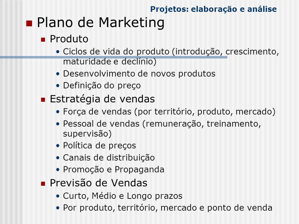 Plano de Marketing Produto Ciclos de vida do produto (introdução, crescimento, maturidade e declínio) Desenvolvimento de novos produtos Definição do p