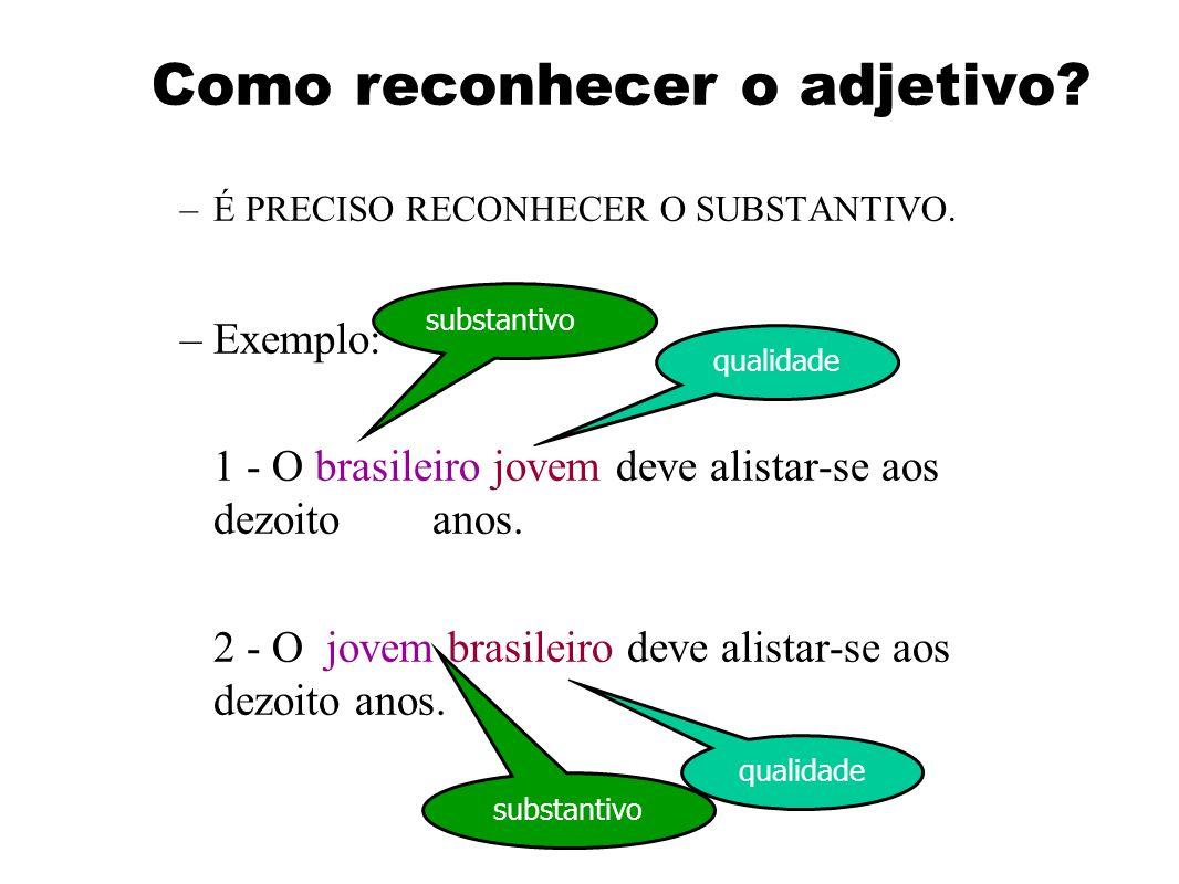 Adjetivo –Palavra que nos dá as características de um substantivo. –Estas características podem ser de: qualidade defeito modos ou maneiras de ser Exe