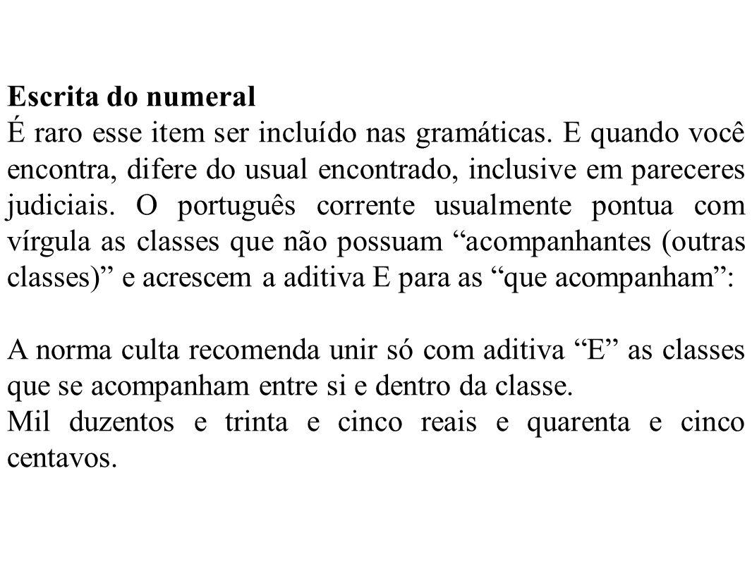 Leitura do numeral a.A leitura do numeral antes do substantivo será ordinal: X volume - décimo volume; XX página - vigésima página. b.A leitura do num