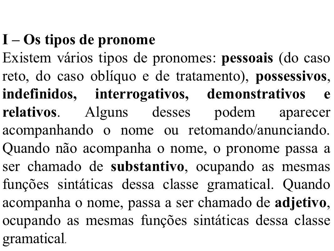 I – Os tipos de pronome Existem vários tipos de pronomes: pessoais (do caso reto, do caso oblíquo e de tratamento), possessivos, indefinidos, interrogativos, demonstrativos e relativos.