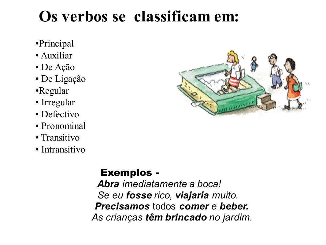 Os verbos se classificam em: Principal Auxiliar De Ação De Ligação Regular Irregular Defectivo Pronominal Transitivo Intransitivo Exemplos - Abra imediatamente a boca.