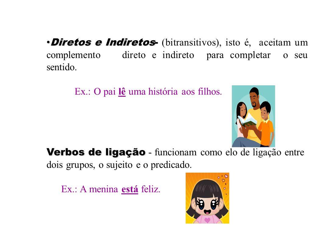 As subclasses dos Verbos Verbos intransitivos- Verbos intransitivos- os que tem o sentido completo. As crianças brincam. Verbos transitivos: Verbos tr