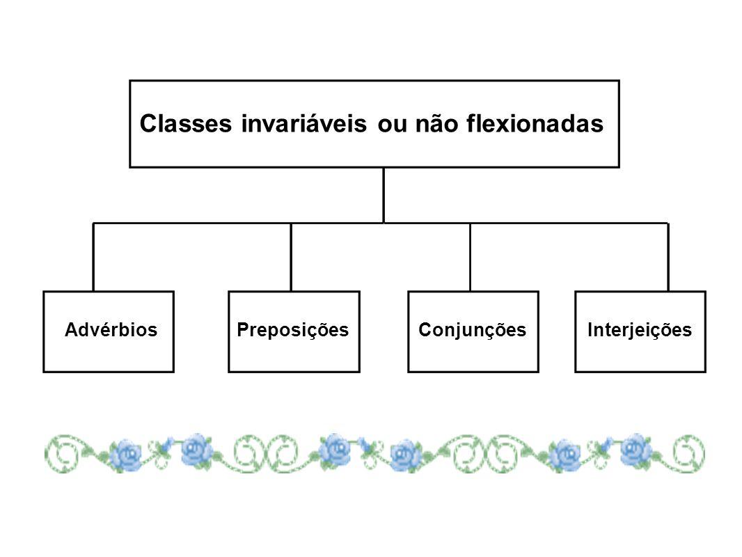 Classes invariáveis ou não flexionadas AdvérbiosPreposiçõesConjunçõesInterjeições