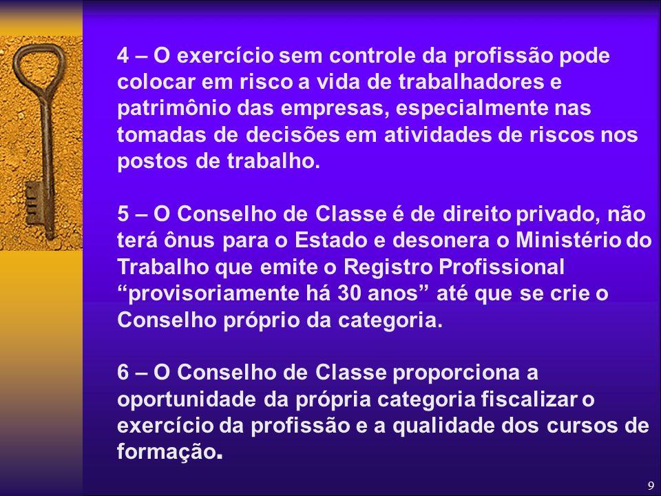 8 Porque Queremos o Conselho de Classe? 1 – O Brasil é o 15º pior pais do mundo em acidentes e doenças do trabalho, já foi catalogado como: Pior do mu