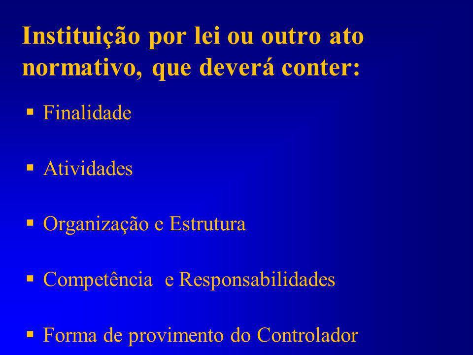 Constituição Federal 1967: controle interno restrito ao Poder Executivo Constituição Federal 1988: instituição obrigatória em todos os Poderes e em to