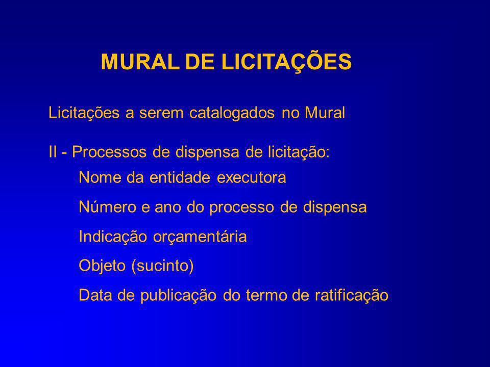MURAL DE LICITAÇÕES Licitações a serem catalogados no Mural I - licitações processáveis: Nome da entidade executora Modalidade licitatória Número e an