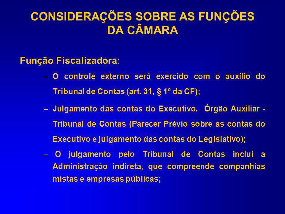 Função Fiscalizadora (art. 70, CF) –Poder de Controle Externo (em termos contábeis, financeiros, orçamentários, operacionais e patrimoniais, quanto à
