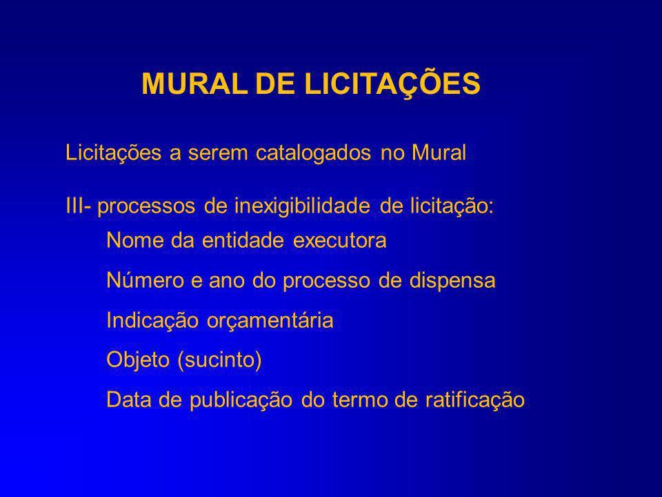 MURAL DE LICITAÇÕES Licitações a serem catalogados no Mural II - Processos de dispensa de licitação: Nome da entidade executora Número e ano do proces