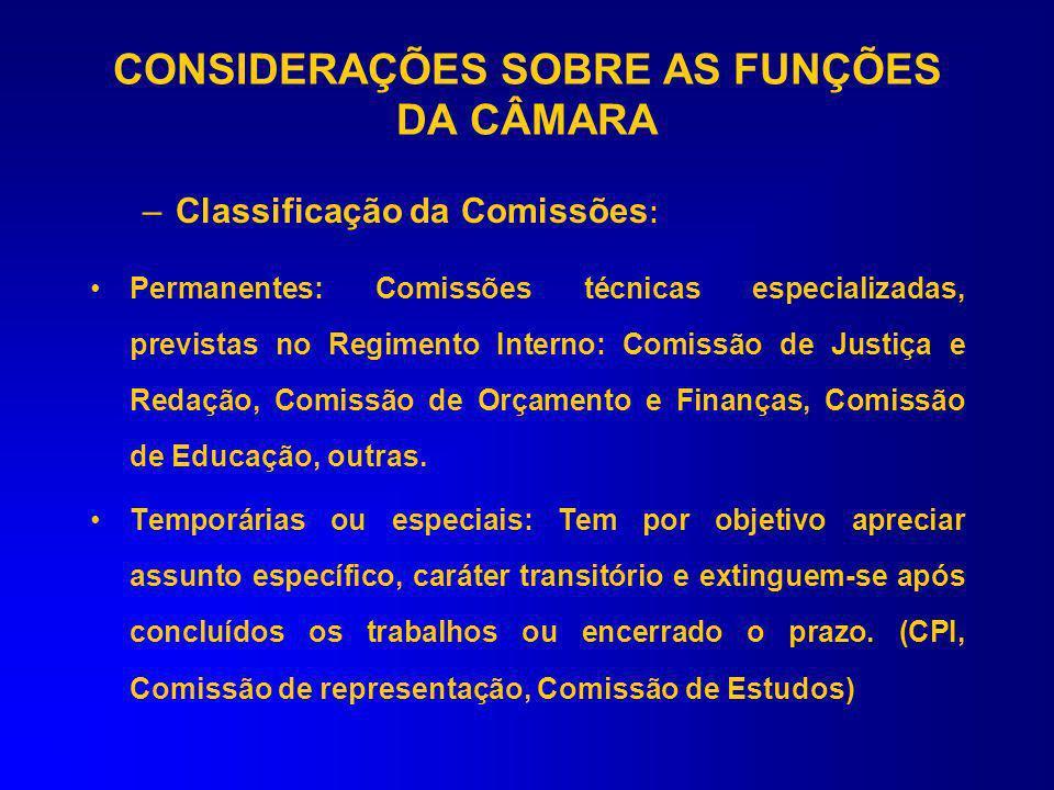 CONTROLE E FISCALIZAÇÃO –Comissões, Finalidades e Alcance A Câmara, para o desempenho de sua atividade parlamentar, depende do regular funcionamento d