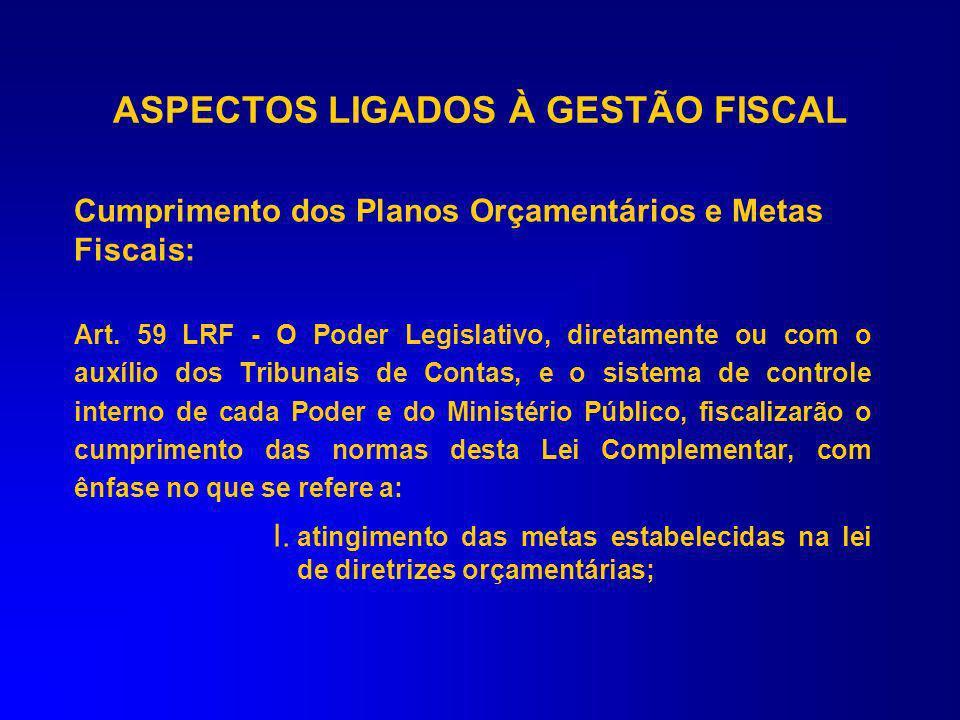 ASPECTOS LIGADOS À GESTÃO FISCAL Federativo: sobrepõe-se a interesses particularizados. Planejamento: elaboração e execução das políticas e gastos púb