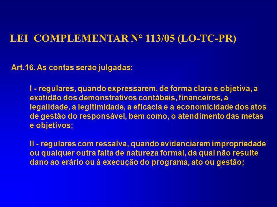 LEI COMPLEMENTAR N° 113/05 (LO-TC-PR) Art. 1º... IV – apreciar, para fins de registro, a legalidade dos atos de admissão de pessoal, a qualquer título
