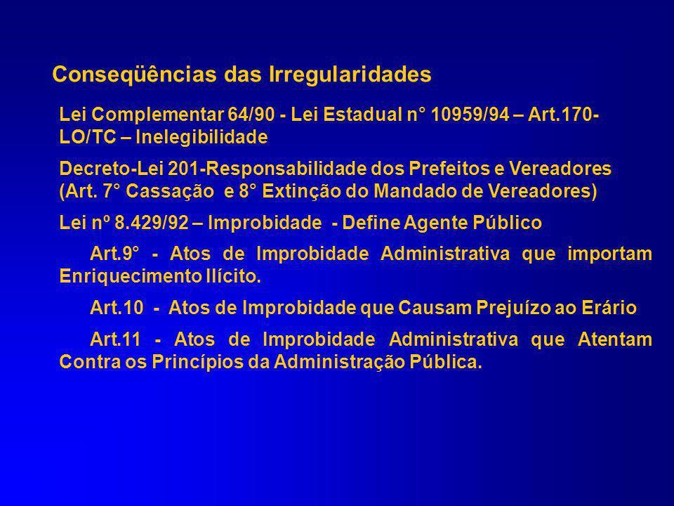 Conseqüências das Irregularidades Lei Complementar n° 113/05 (LO/TC) – Multas Lei 10.028/00 (Lei de Crimes) Art. 359-B- Cód.Penal-Inscrição de despesa