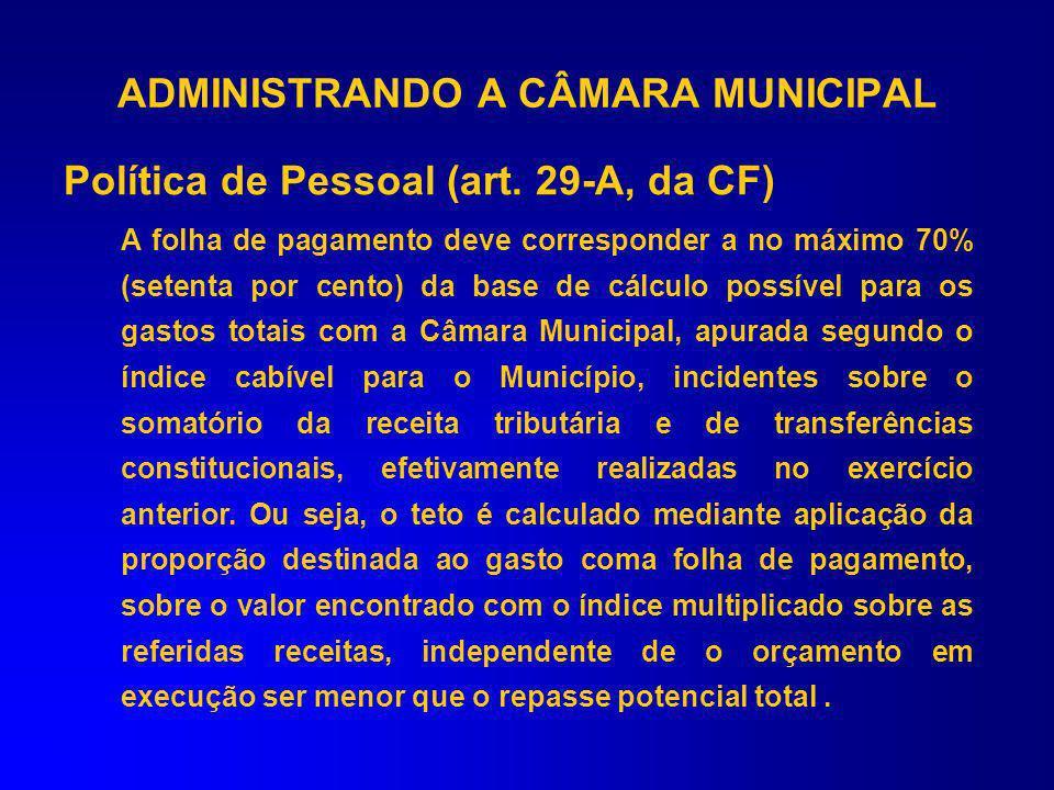 Art. 29-A. Emenda Constitucional nº 58/2009 LIMITE DE DESPESA DO LEGISLATIVO Inciso II – 6% Inciso III – 5% Inciso IV – 4,5% Inciso I – 7% De 100.001