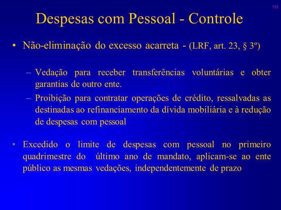 115 Despesas com Pessoal - Controle Despesa com pessoal acima do limite (100%): (Art. 23-LRF) –Aplicar as restrições referentes à extrapolação dos 95%