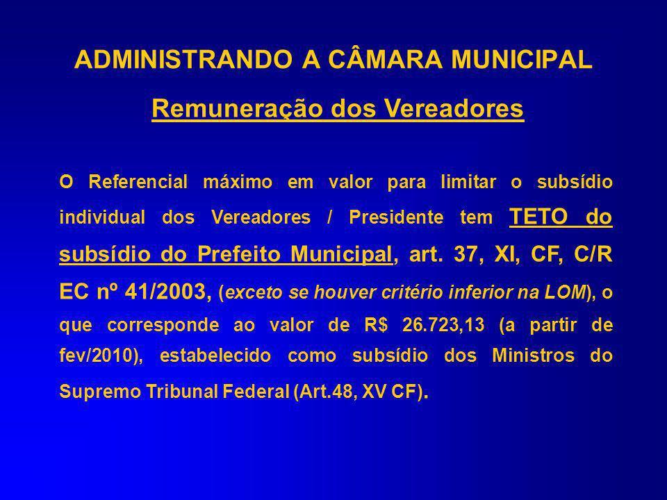 ADMINISTRANDO A CÂMARA MUNICIPAL Remuneração dos Vereadores Subsídio do Presidente do Legislativo: –Obedece as normas e requisitos de fixação dos subs