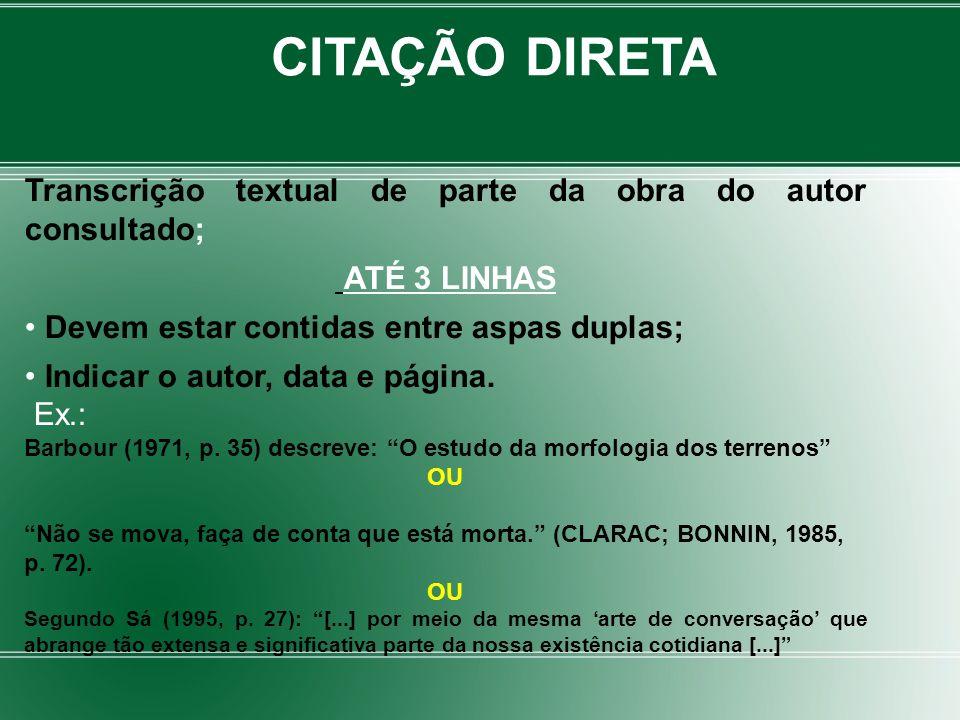 Transcrição textual de parte da obra do autor consultado; ATÉ 3 LINHAS Devem estar contidas entre aspas duplas; Indicar o autor, data e página. Ex.: B