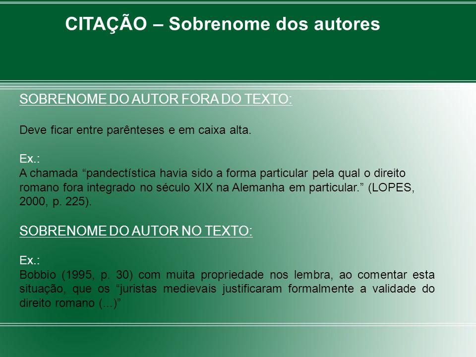 CITAÇÃO – Sobrenome dos autores SOBRENOME DO AUTOR FORA DO TEXTO: Deve ficar entre parênteses e em caixa alta. Ex.: A chamada pandectística havia sido