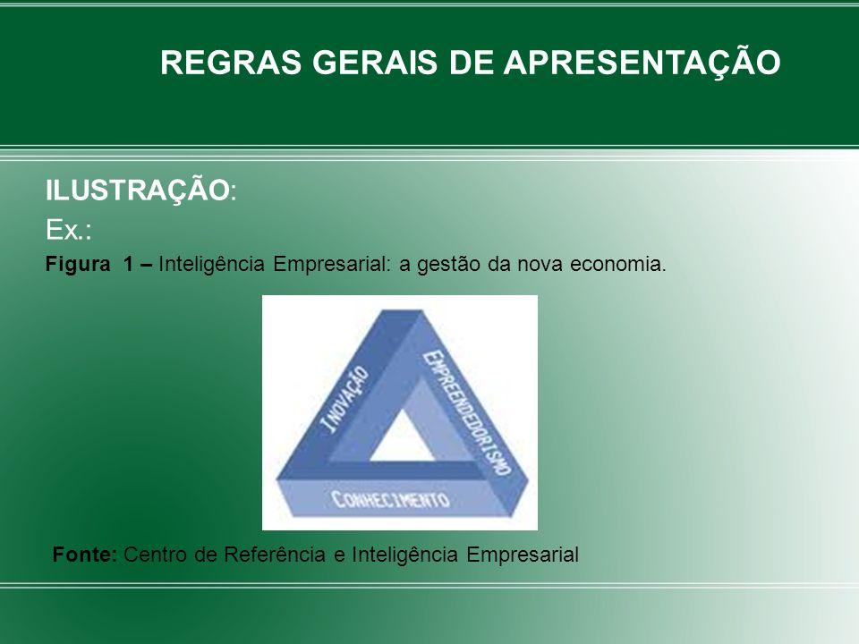 ILUSTRAÇÃO: Ex.: Figura 1 – Inteligência Empresarial: a gestão da nova economia. REGRAS GERAIS DE APRESENTAÇÃO Fonte: Centro de Referência e Inteligên