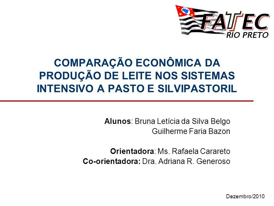 Junho/2010 COMPARAÇÃO ECONÔMICA DA PRODUÇÃO DE LEITE NOS SISTEMAS INTENSIVO A PASTO E SILVIPASTORIL Alunos: Bruna Letícia da Silva Belgo Guilherme Faria Bazon Orientadora: Ms.