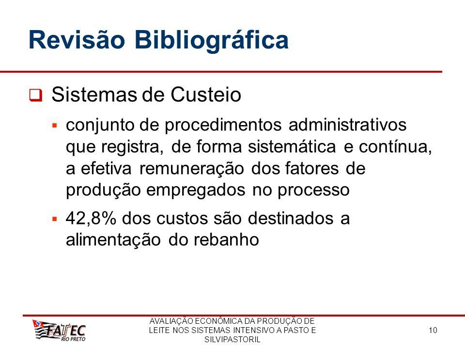 AVALIAÇÃO ECONÔMICA DA PRODUÇÃO DE LEITE NOS SISTEMAS INTENSIVO A PASTO E SILVIPASTORIL 10 Revisão Bibliográfica Sistemas de Custeio conjunto de proce
