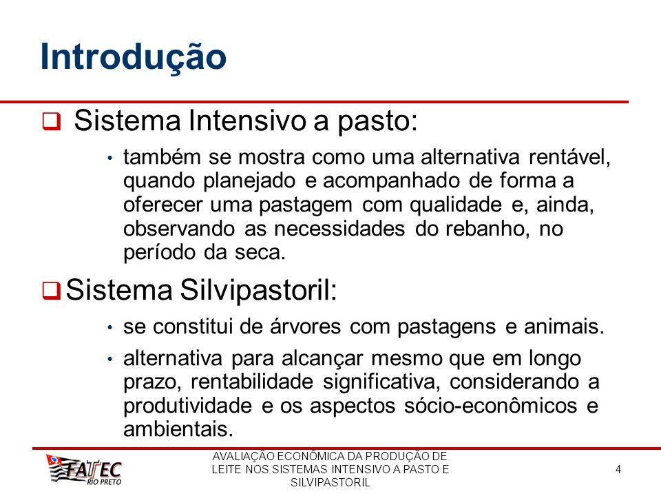 AVALIAÇÃO ECONÔMICA DA PRODUÇÃO DE LEITE NOS SISTEMAS INTENSIVO A PASTO E SILVIPASTORIL 15 Material e Métodos Custos de Implantação da Atividade Leiteira no sistema intensivo a pasto e no sistema silvipastoril custo de implantação da pastagem; Custo de implantação do eucalipto E.