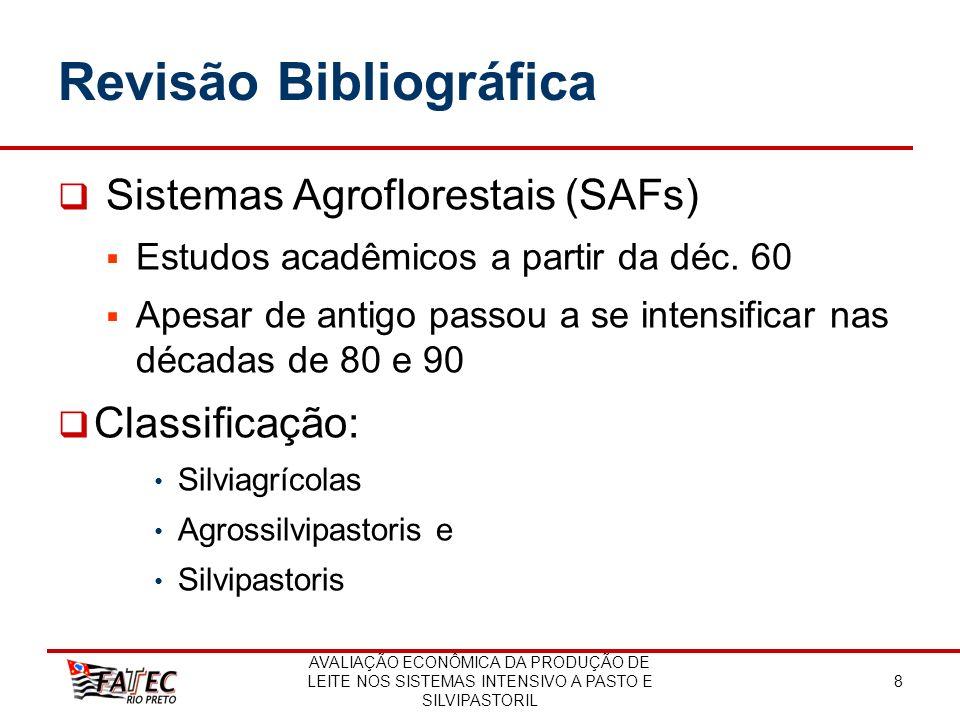 AVALIAÇÃO ECONÔMICA DA PRODUÇÃO DE LEITE NOS SISTEMAS INTENSIVO A PASTO E SILVIPASTORIL 8 Revisão Bibliográfica Sistemas Agroflorestais (SAFs) Estudos