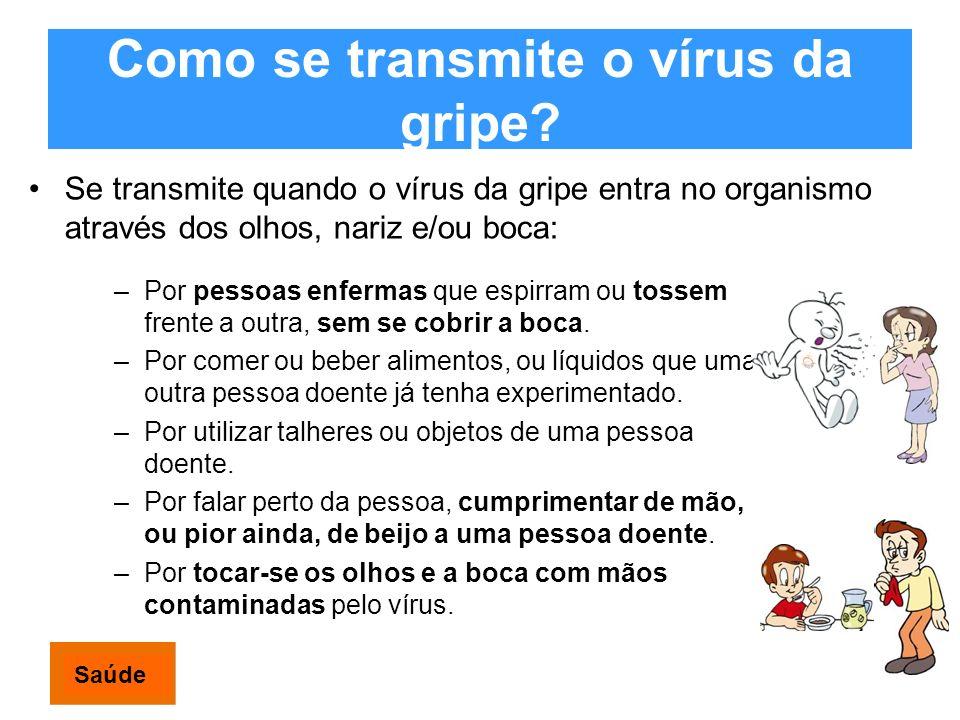 Como se transmite o vírus da gripe? Se transmite quando o vírus da gripe entra no organismo através dos olhos, nariz e/ou boca: –Por pessoas enfermas