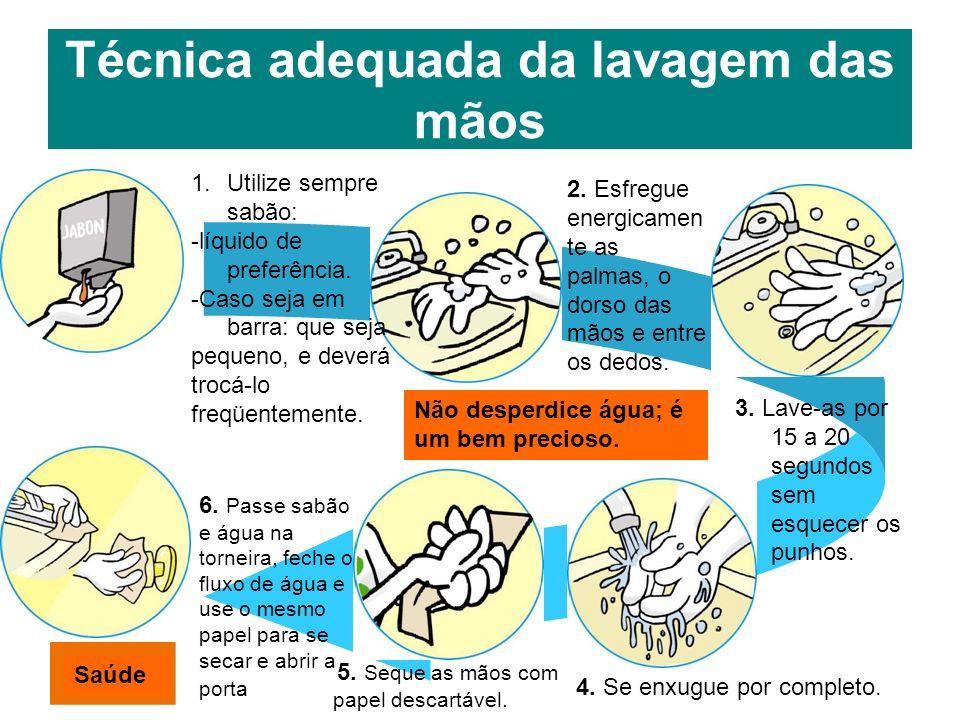 Técnica adequada da lavagem das mãos 1.Utilize sempre sabão: -líquido de preferência. -Caso seja em barra: que seja pequeno, e deverá trocá-lo freqüen