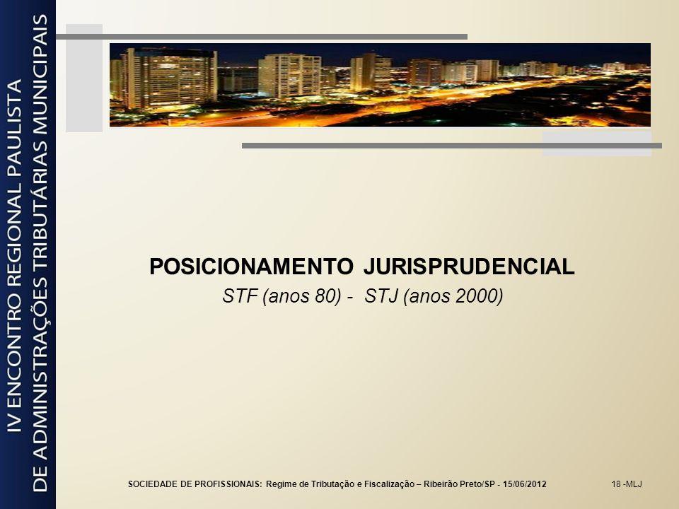 18 -MLJ POSICIONAMENTO JURISPRUDENCIAL STF (anos 80) - STJ (anos 2000) SOCIEDADE DE PROFISSIONAIS: Regime de Tributação e Fiscalização – Ribeirão Pret