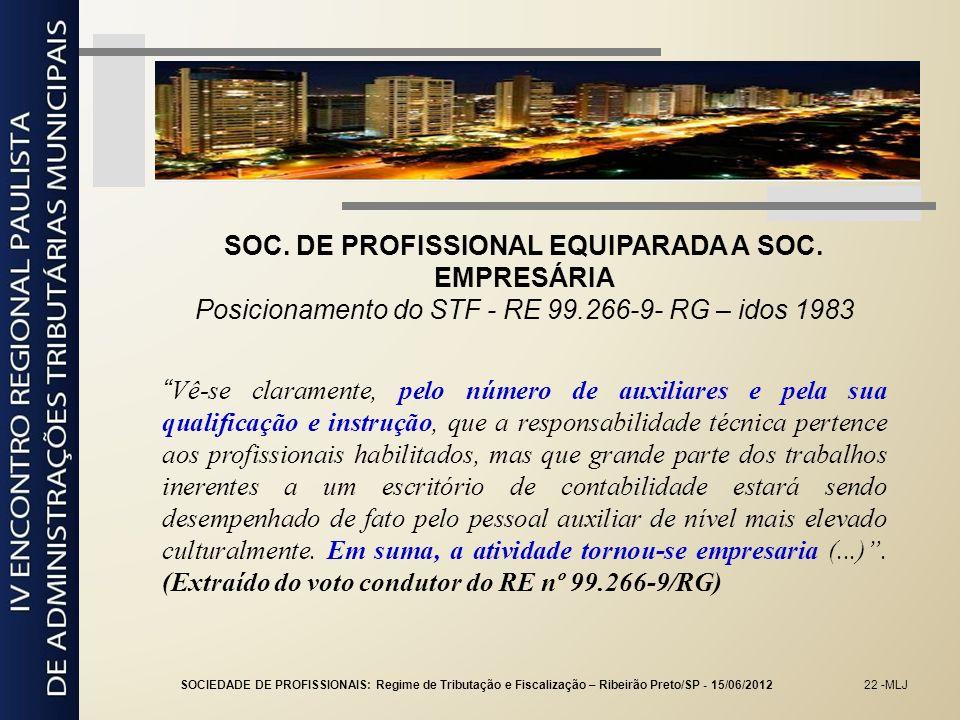 22 -MLJ SOC. DE PROFISSIONAL EQUIPARADA A SOC. EMPRESÁRIA Posicionamento do STF - RE 99.266-9- RG – idos 1983 Vê-se claramente, pelo número de auxilia
