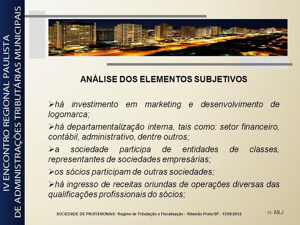 33 -MLJ ANÁLISE DOS ELEMENTOS SUBJETIVOS há investimento em marketing e desenvolvimento de logomarca; há departamentalização interna, tais como: setor