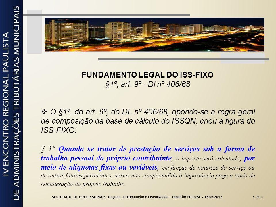 5 -MLJ FUNDAMENTO LEGAL DO ISS-FIXO §1º, art. 9º - Dl nº 406/68 O §1º, do art. 9º, do DL nº 406/68, opondo-se a regra geral de composição da base de c