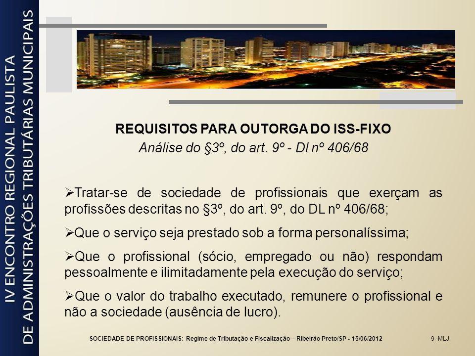 20 -MLJ SOCIEDADE EMPRESÁRIA Posicionamento do STF – idos de 1983 Imposto sobre serviço.